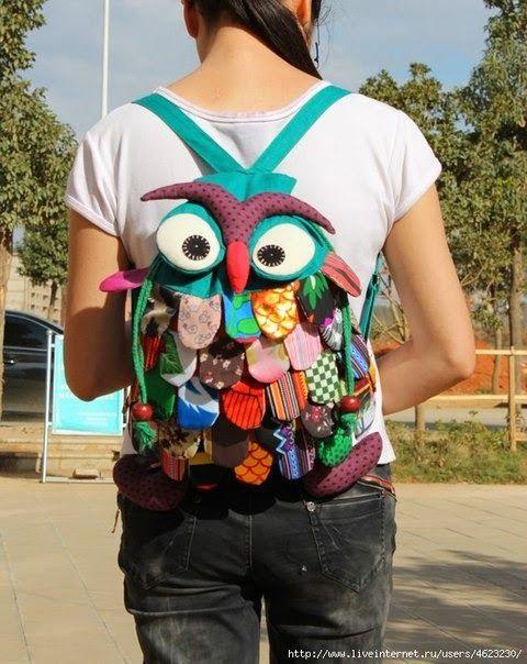 Molde: mochila Coruja de tecido