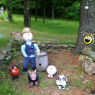 Bowling ball farm, with farmer Bob, Mr. Bee, Mr. Rooster, Mr. Bull, Ms. Piggy and Ms. Cow