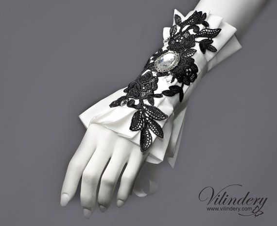 Hey, I found this really awesome Etsy listing at https://www.etsy.com/listing/190096210/black-and-white-bridal-fabric-cuff-with