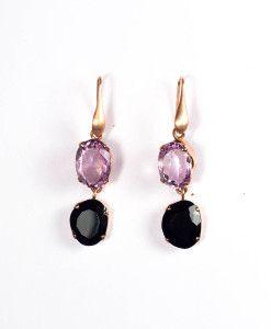 Oorbellen amethist en onyx €175,00 | MPM Jewelry by Pilar Montes #zwart #black #black #blackjewellery #blackjewels #sieraden #oorbellen #onyx #zwartesieraden #amethist