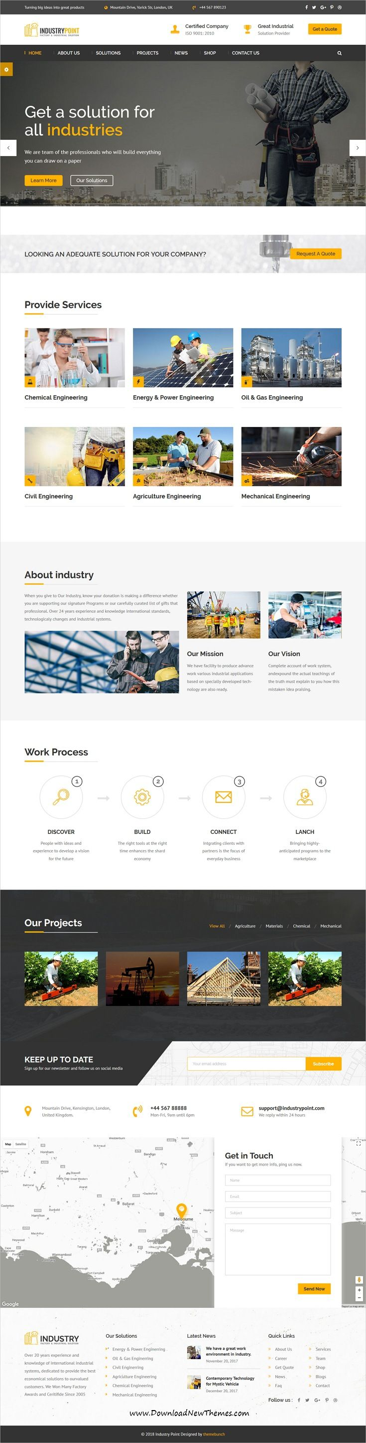 IndustryPoint is clean and modern design 2in1 responsive #bootstrap HTML template for #factory, #engineering and #industrial business website to live preview & download click on Visit