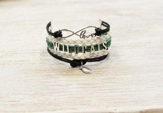 WILDCATS fútbol cordón negro blanco verde pulsera de amor
