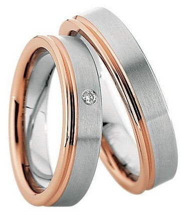 Trauringe Bad Buchau  Edelstahl- und Rotgoldring, (Gold in 585)  Damenring mit 1 Diamanten, 0,03 kt, Farbe: w, Reinheit: si,  Ringbreite: 5,00 mm,  Stärke: 2,0 mm,