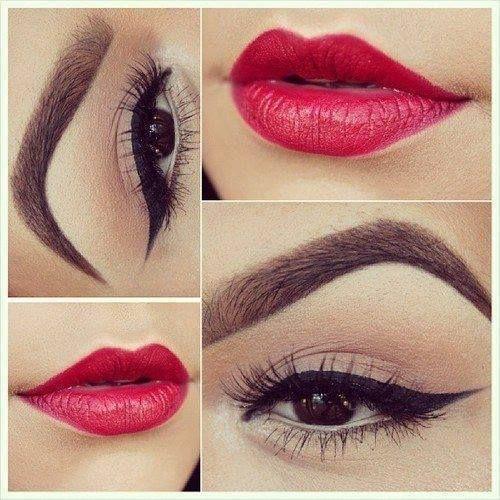 Labios rojos ojos claros