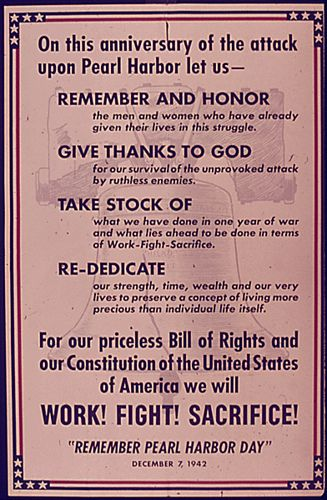 Pearl Harbor Day Poster from 1942 (one year anniversary)