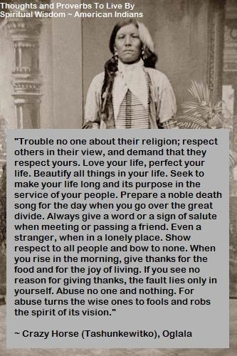 """Love your life, perfect your life. Beautify all things in your life."" - Crazy Horse"