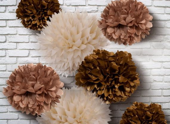 Tissue Paper Pom Poms Set of 10  Chocolate mixed by PomGarden