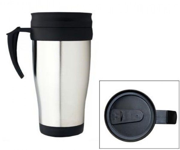 TRAVEL MUGS – M07  Price includes 1 color, 1 position print   2 Color imprint available for an additional charge  Capacity: 475ml.  Product size: 88mm x 164mm  Interior: Plastic.  Exterior: Stainless Steel. Double Wall.  Packaging: White box  Decoration option: Pad print, Screen print, Laser engrave, Heat transfer  Printing Size: 40mm x 40 mm  Laser Engraving Size: 30mm x 30 mm