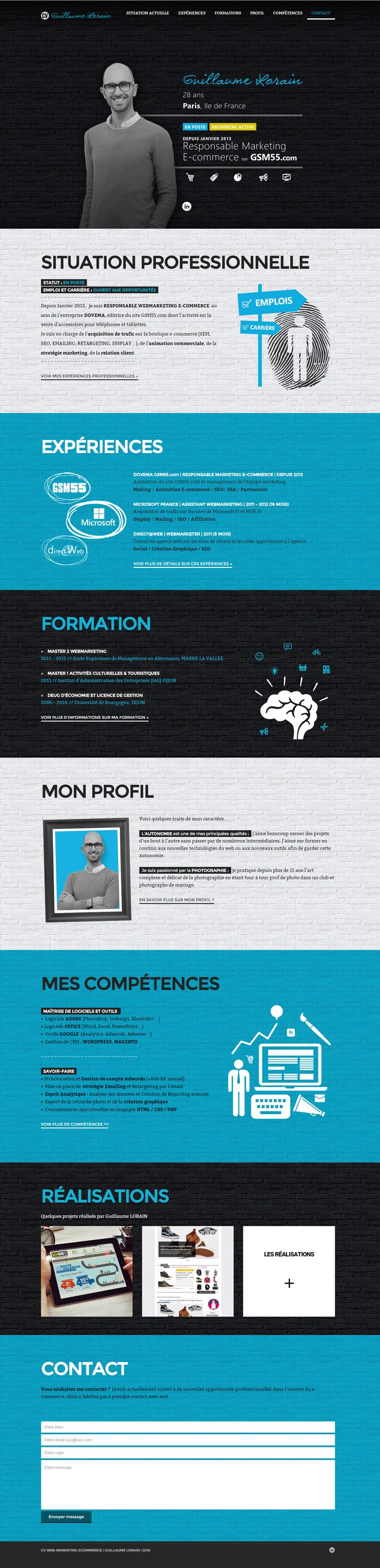 cv webmarketing guillaume lorain site cv cratif cv graphique marketing resume website e