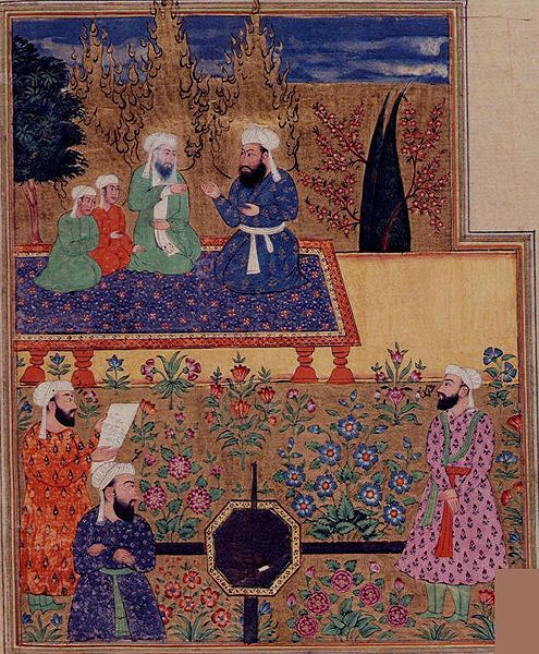 The Prophet, 'Ali, Husayn and Hasan in Paradise; 'Uthman, 'Umar and Abu Bakr are in the foreground. Miniature from a 17th century manuscript of Khavarnama, a poem on the deeds of 'Ali; Punjab, 1686