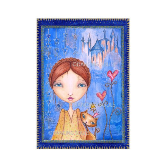 Blue dreams, Mixed media painting, giclee, art print, wall decor, home, energy card, illustration, whimsical art, fairy tale.