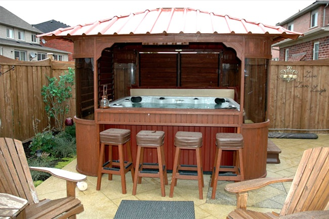 Hot tub gazebo with built in outdoor bar home design for Built in gazebo