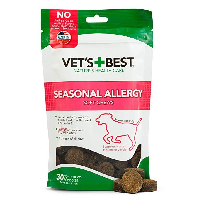 Vet S Best Seasonal Allergy Soft Chew Dog Supplements Soothes Dogs Skin Irritation Due To Seasonal Allergies Revi Seasonal Allergies Dog Skin Dog Supplements