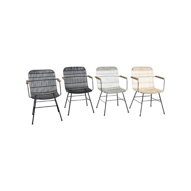 Stoelen van kunststof rotan in grijs, zwart en wit, voorzien van metalen poten en houten armlegger. Geschikt voor binnen- en buitenshuis. De stoel van naturel rotan is alleen voor binnen gebruik.