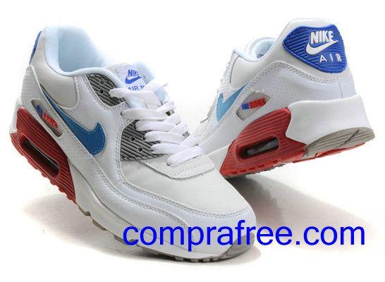 Comprar baratos mujer Nike Air Max 90 Zapatillas (color:blanco,azul,rojo) en linea en Espana.