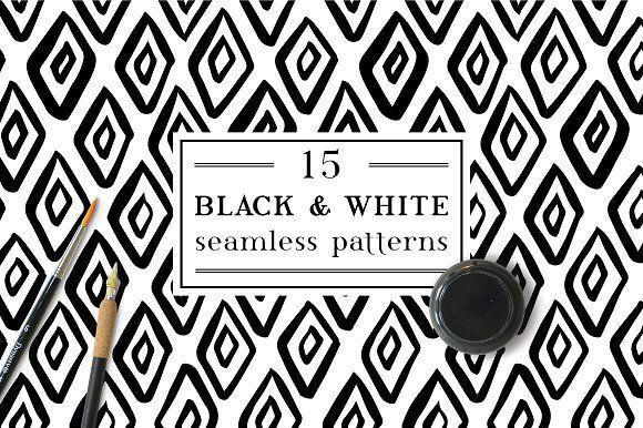 Black & White inky patterns by Maria Galybina on @creativemarket