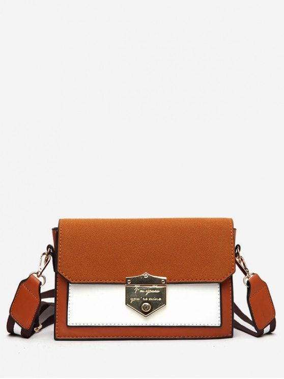 d0561a57a0c1 Striped Shoulder Strap Hasp Design Crossbody Bag - LIGHT BROWN