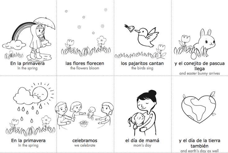 Free Spanish Spring Vocabulary Cards.