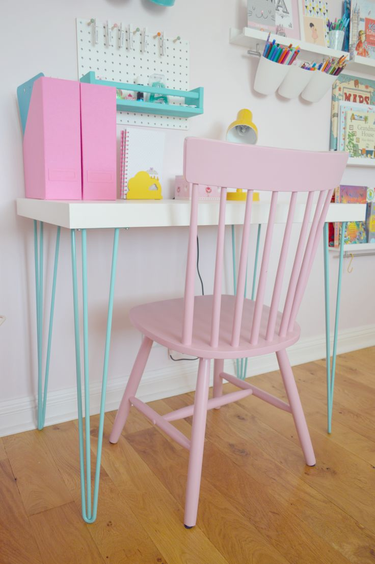 girls bedroom makeover ikea hack lack coffee table with turquoise hairpin legs girls room. Black Bedroom Furniture Sets. Home Design Ideas