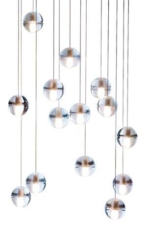 LED spheres in this light fixture can be configured into round or square-base chandelier via headphone jack connection
