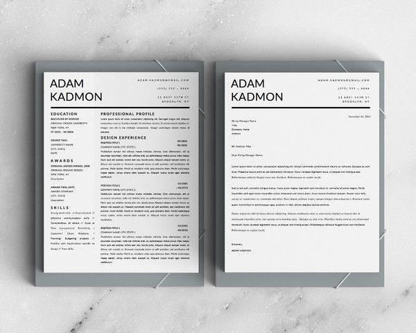 pin on adam kadmon modern professional resume template for