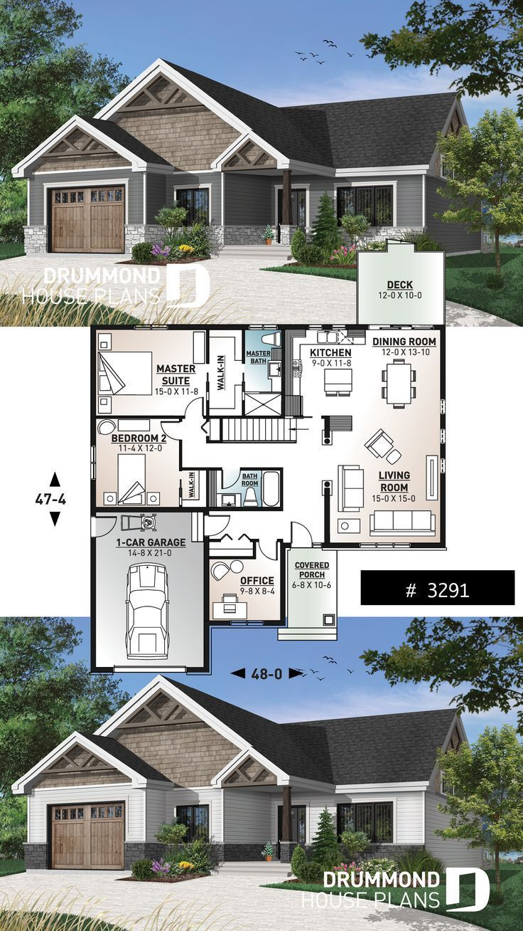 Garage Handwerkerbungalow Houseplans With One Story House Plan In The Northwest In 2020 Craftsman House Plans Craftsman Bungalow House Plans Sims House Plans
