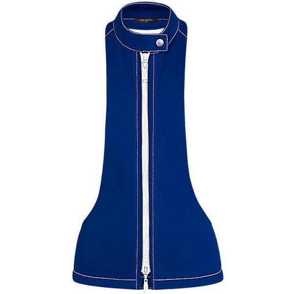 Gilet sans manches zippé ❤ liked on Polyvore featuring outerwear, vests, blue vest, vest waistcoat, blue waistcoat, embroidered vest and biker vests