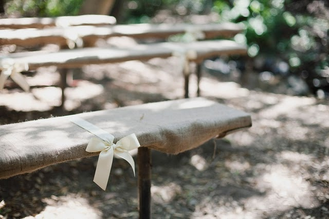 a nice way to clean up benches for rustic outdoor wedding.