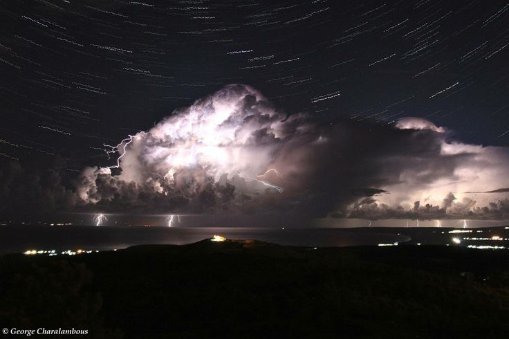 George Charalambous shares this stunning long-exposure photo of star trails above the thunderstorm in Cyprus. (On behalf of the Cyprus storm chasing team in Cyprus and the groups: (a) Cyprus WeatherOnline and (b) Cyprus storm chasing - find them on Facebook)