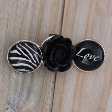 Setje zwart met roosje