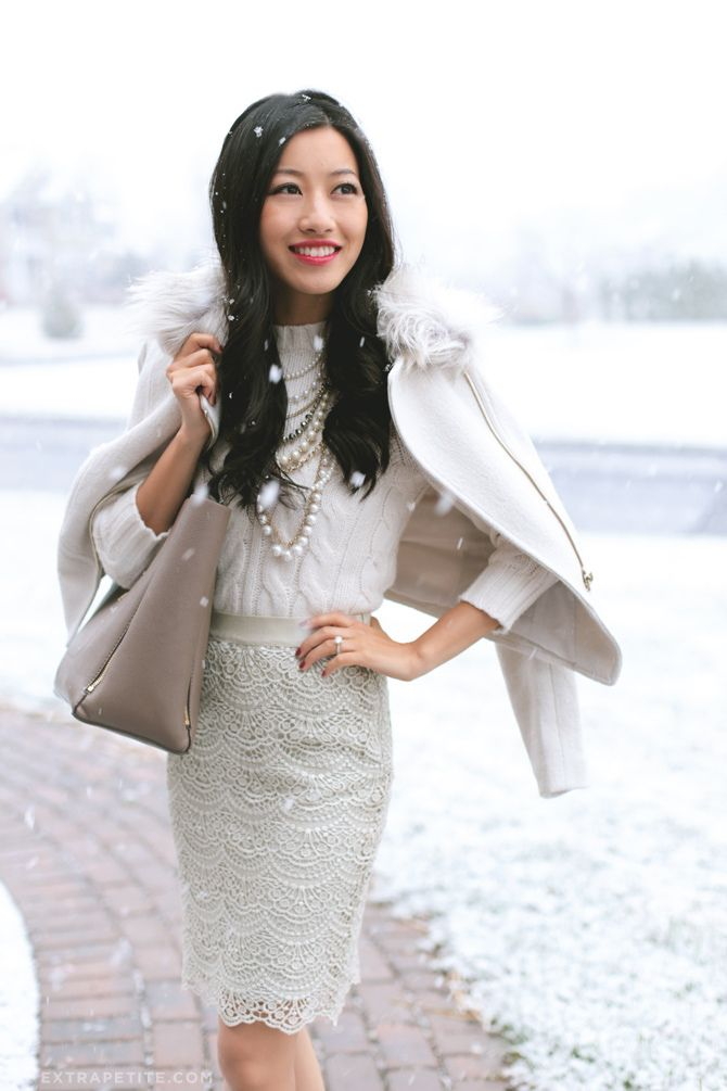 Winter white office / work outfit idea - lace skirt, cable sweater, #anntaylor tote bag