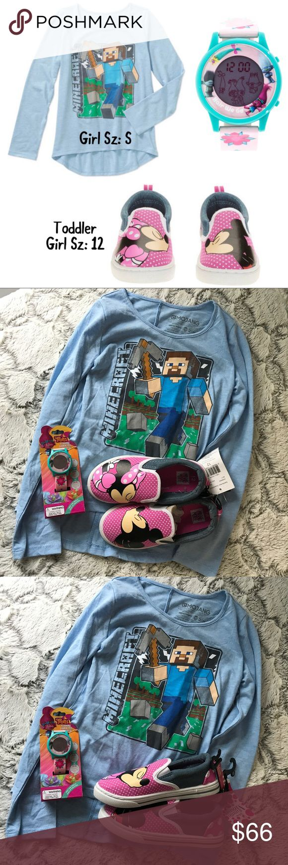 💫NWT💐SUMMER Girl Mix/Match 3Piece Set🐳 New Girl 3-Piece Mix And Match Set includes: 1 New Girl MineCraft Long Sleeve Shirt Sz: S, 1 New Toddler Girl Minnie Mouse Shoe Sz: 12 and 1 New Girl Trolls Flashing Character LCD Watch.  All Brand New w Tags and in Box. Disney Accessories