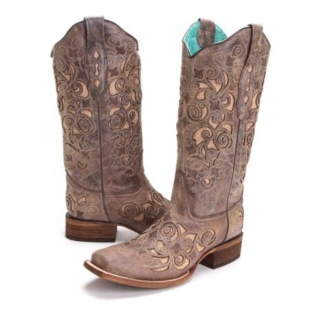 PFIs BootDaddy Collection with Corral Womens Jute Inlay Square Toe Cowboy Boots Brown