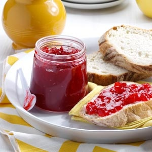 """Surprise Raspberry Jam - Family and friends will never guess the secret ingredient in this jam-tomatoes! """"I got the recipe from a co-worker, and it is just delicious."""
