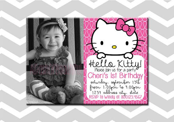Hello Kitty First Birthday Invitation/Card by ADashOfBeautiful, $6.00
