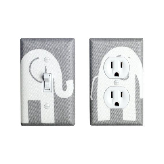 Elephant Nursery Decor / Gray and White Light Switch by SSKDesigns