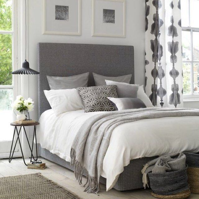 Grey Bedroom Decorating: Grey Patterned Curtains, Grey Chevron Curtains And