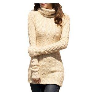 V28 Women Polo Neck Knit Stretchable Elastic Long Sleeve Slim Sweater Jumper