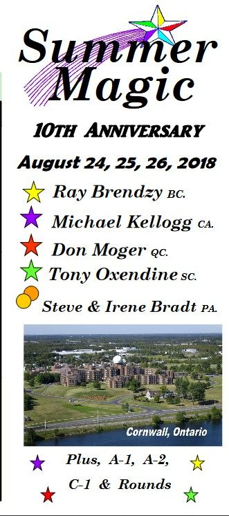 One of the best square dance weekends:  Brochure here:  http://squaredance.on.ca/wp/wp-content/uploads/2016/02/18-aug-Summer-Magic.pdf