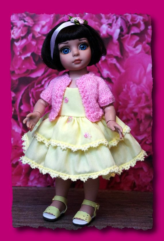 """Summer Days...a 4PC Outfit for Tonner Patsy, Ann Estelle, Trixie, Sophie 10"""" DoLLs~Tiered Dress, Hairband w/ roses, Sweater, Panties CLOTHES"""