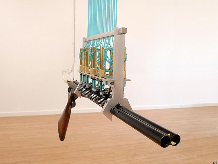 Made out of disabled shotguns, these robotic flutes play music corresponding to the rise and fall of US arms exports.