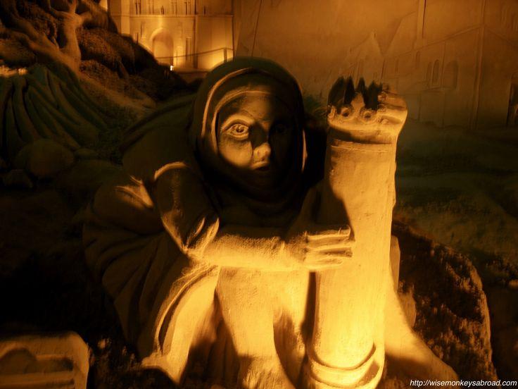 A shadowed sculpture taken at the Bruges Sand Sculpture Festival