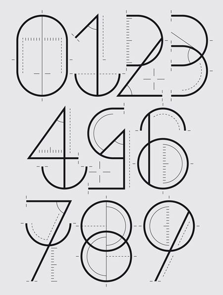 "Some­thing really beau­ti­ful about these num­bers. It's prob­a­bly because I'm a sucker for schematic draw­ings. They were designed for a Yorokobu mag­a­zine sec­tion called ""Numero­grafía"". Designed by a Span­ish designer who goes by the name of Wete."