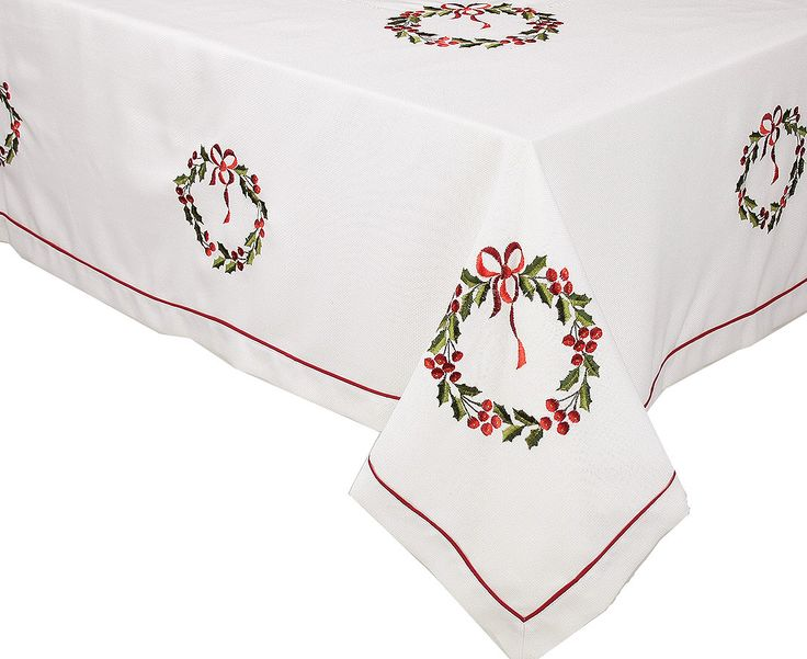 Nice Country Wreath Embroidered Hemstitch Round Holiday Tablecloth