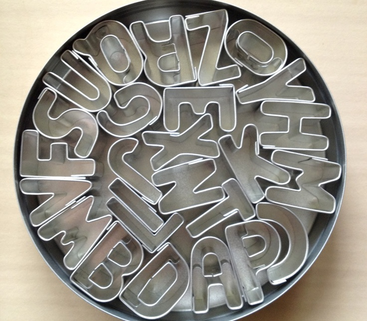 Mini Alphabet Cookie Cutter Set from Sweet Estelle's Baking Supply