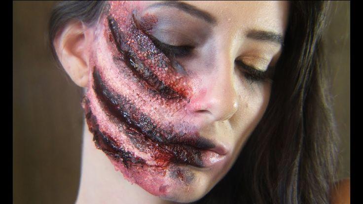 100 DAYS OF MAKEUP CHALLENGE - SLASHED FACE ANIMAL ATTACK SFX MAKEUP  #sfx #sfxmakeup #specialeffects #makeup #gore #halloween #halloweenmakeup #clawed #clawedface #animalattack