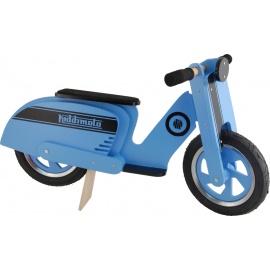 Blauw-zwarte Kiddimoto scooter loopfiets    Maak de blitz met deze fantastische scooter van Kiddimoto.  Met deze loopfiets ontwikkel je razendsnel een goede balans, coördinatie en motoriek waardoor de overstap naar de echte fiets haast vanzelf gaat.  Deze scooter is een cool, orgineel en leerzaam kado waarmee bij ieder kind een lach op het gezicht getoverd wordt.