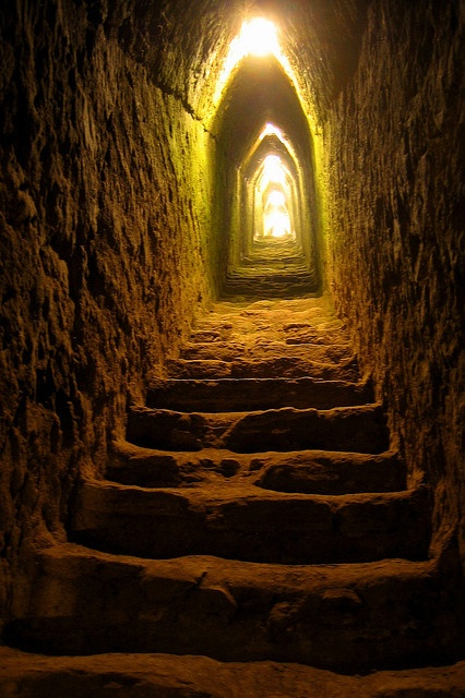 tunnel inside the great pyramid of cholula.