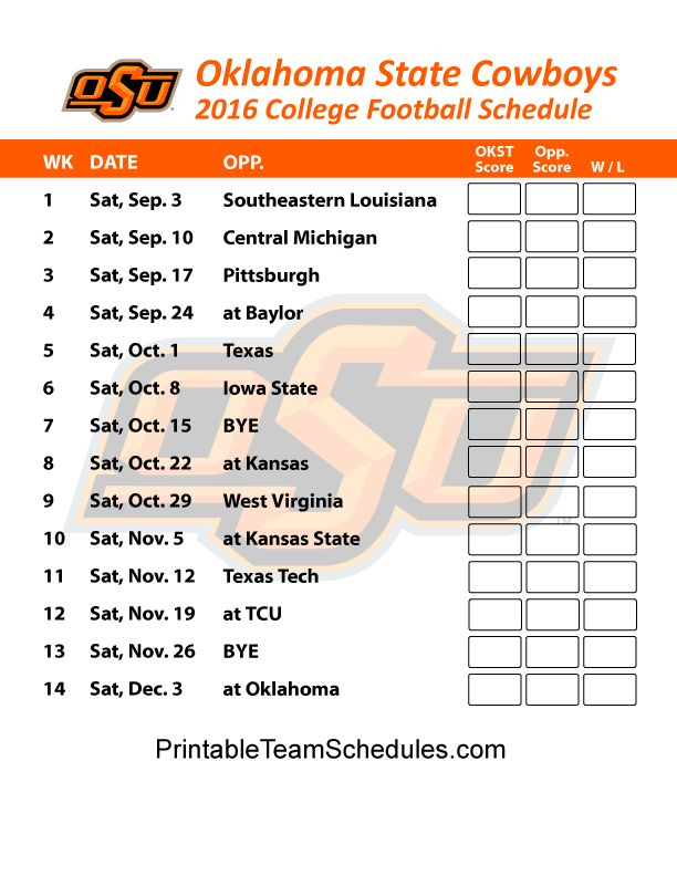 Oklahoma State Cowboys  Football Schedule 2016. Printable Schedule Here - http://printableteamschedules.com/collegefootball/oklahomastatecowboys.php