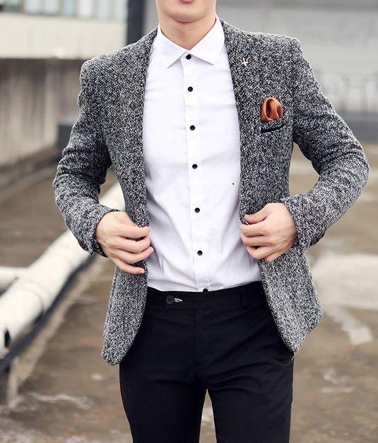 Mens Clothing   Blazer   Men's Cotton & Wool Casual Blazer   Mens Suit – Z…